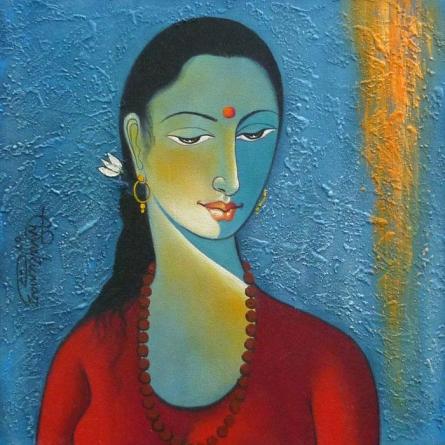 Shivkumar | Acrylic Painting title Radha II on Canvas | Artist Shivkumar Gallery | ArtZolo.com