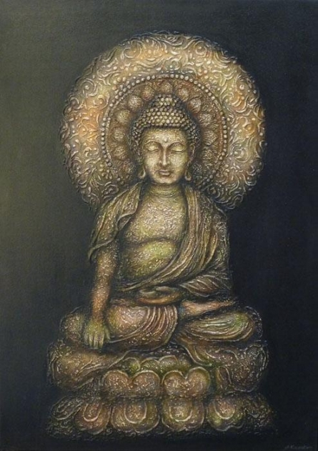Figurative Mixed-media Art Painting title 'The Buddha' by artist Ashok Revankar