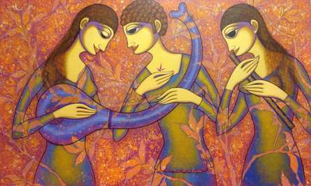 Figurative Acrylic Art Painting title 'The Musicians' by artist Prakash Deshmukh
