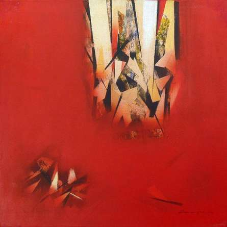 Abstract Acrylic Art Painting title 'The Red Abstract' by artist Surendra Kudapane