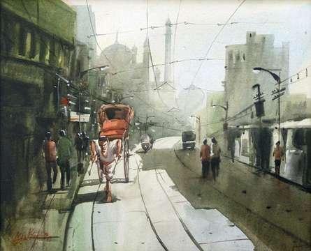 The Rickshaw Puller   Painting by artist Ekta Singha   acrylic   Canvas