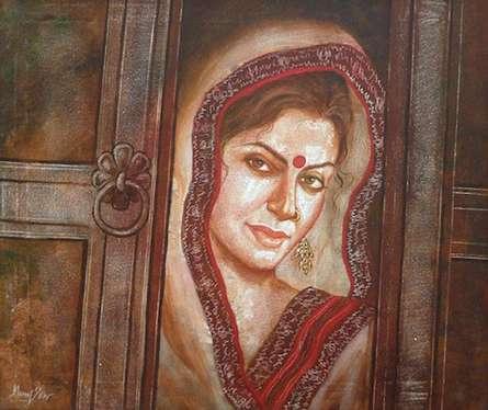 Manoj Sen | Acrylic Painting title Traditional Woman on Canvas | Artist Manoj Sen Gallery | ArtZolo.com