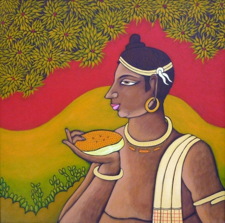 Figurative Acrylic Art Painting title 'Tribal Man' by artist Suhas