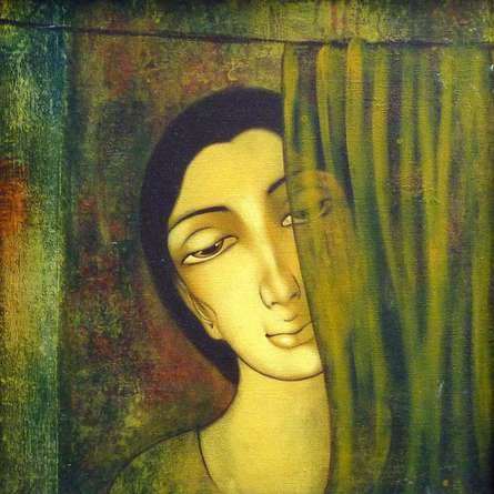 Figurative Acrylic Art Painting title 'Waiting' by artist Manoj Aher