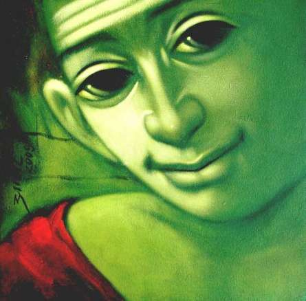 Apet Pramod | Acrylic Painting title Batu 2 on Canvas | Artist Apet Pramod Gallery | ArtZolo.com