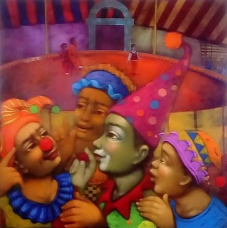 Figurative Acrylic Art Painting title 'Circus' by artist Apet Pramod