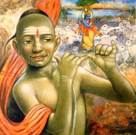 Apet Pramod | Acrylic Painting title Krishna on Canvas | Artist Apet Pramod Gallery | ArtZolo.com