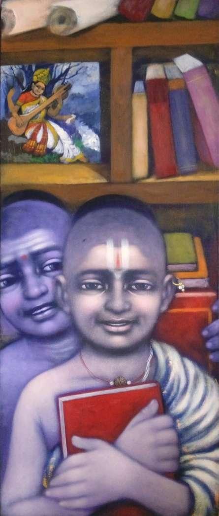 Apet Pramod | Acrylic Painting title Library on Canvas | Artist Apet Pramod Gallery | ArtZolo.com