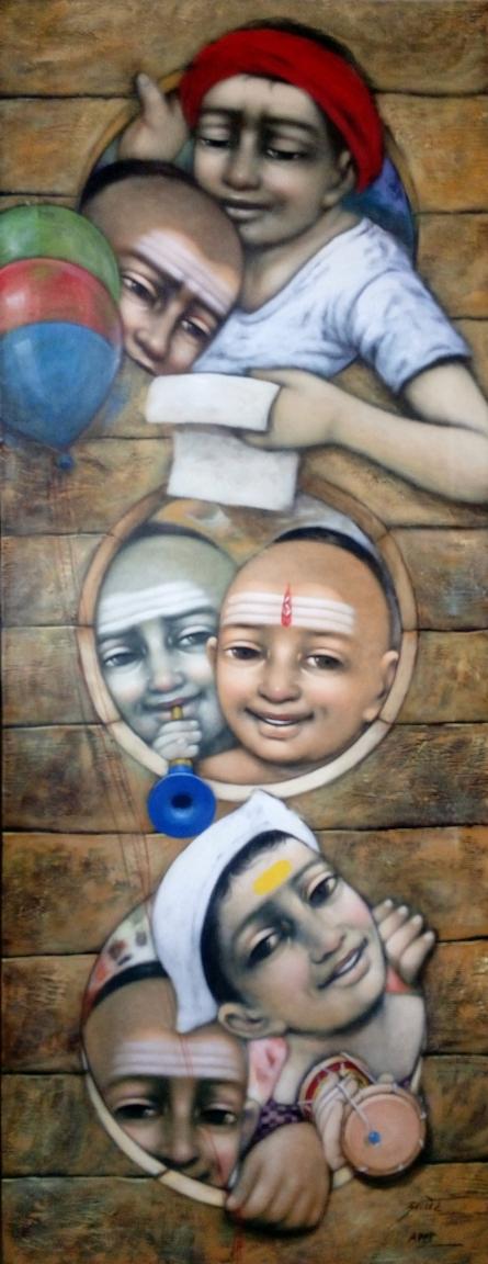 Figurative Acrylic Art Painting title Three Windos by artist Apet Pramod