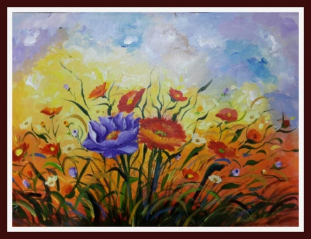 Beauty of nature with flowers | Painting by artist Sanjay Raut | acrylic | Canvas