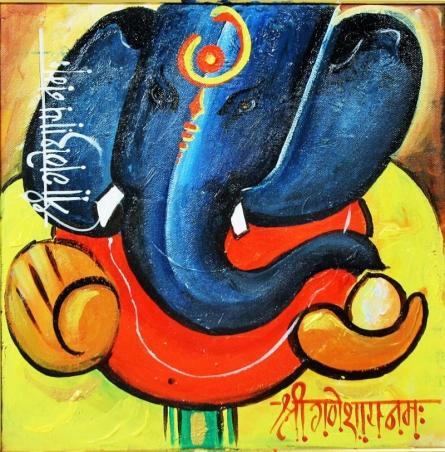 Ganesha 1 | Painting by artist Sanjay Damodar Raut | glaze | Canvas