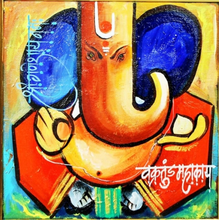 Ganesha   Painting by artist Sanjay Damodar Raut   acrylic   Canvas