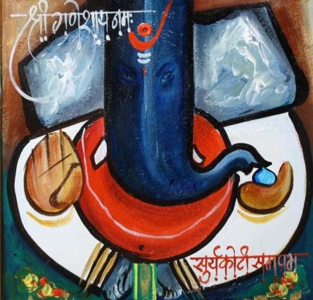 Ganesha 2 | Painting by artist Sanjay Damodar Raut | acrylic | Canvas