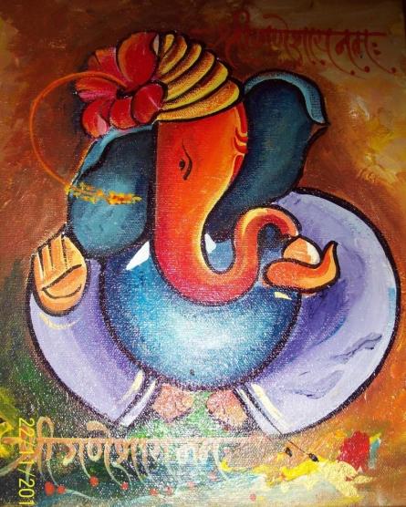 Ganpati on canvas | Painting by artist Sanjay Raut | acrylic | Canvas