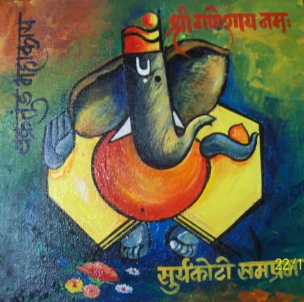 Ganpati on canvas | Painting by artist Sanjay Raut | acrylic | Canvas