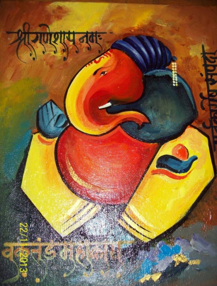 Ganpati on canvas   Painting by artist Sanjay Raut   acrylic   Canvas