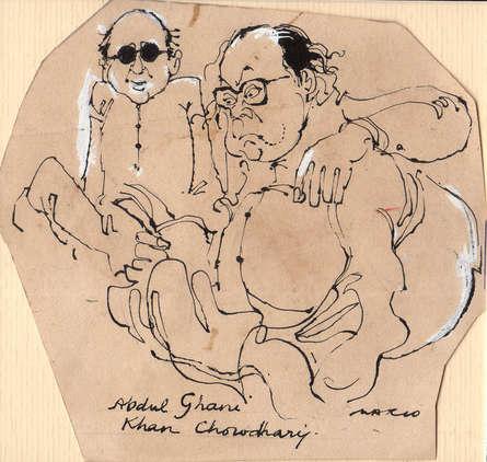 Figurative Pen-ink Art Drawing title Abdul Ghani Khan Chowdhary by artist Mario Miranda
