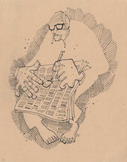 Pen-ink Paintings | Drawing title Mario Miranda Original B 182 on Paper | Artist Mario Miranda