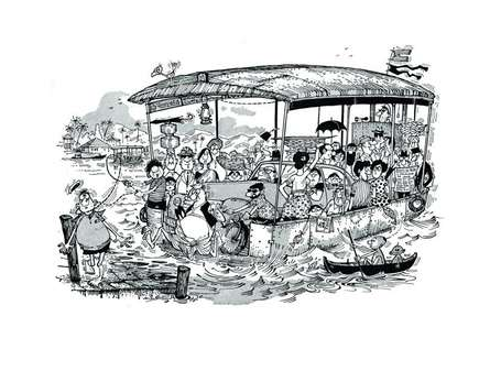 Cityscape Pen-ink Art Painting title 'Crossing the Zuari (1964)' by artist Mario Miranda