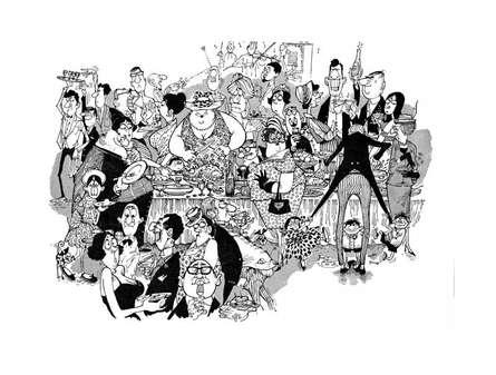 Goan Wedding Banquet (1964) | Painting by artist Mario Miranda | other | Paper