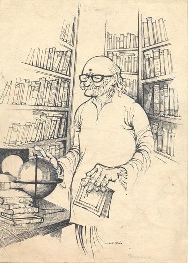 Figurative Pen-ink Art Drawing title 'Dr. Bhendre' by artist Mario Miranda