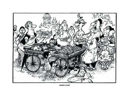 Mario Miranda | Pen-ink Painting title Dinner A La Cart on Paper | Artist Mario Miranda Gallery | ArtZolo.com