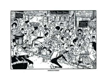 Cityscape Pen-ink Art Painting title Sidewalks of Bombay by artist Mario Miranda
