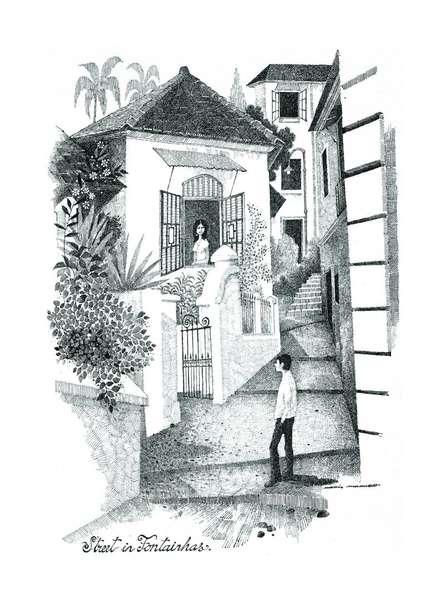 Mario Miranda | Other Painting title Street in Fontainhas on Paper | Artist Mario Miranda Gallery | ArtZolo.com