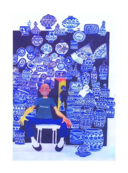 Figurative Pen-ink Art Painting title 'Famous Blue Pottery' by artist Mario Miranda