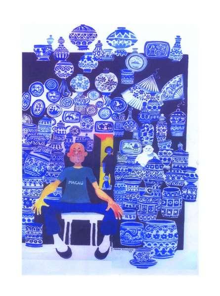 Mario Miranda | Other Painting title Famous Blue Pottery on Paper | Artist Mario Miranda Gallery | ArtZolo.com