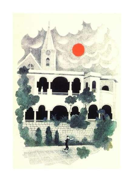 Mario Miranda | Pen-ink Painting title Colonial Portuguese Architecture on Paper | Artist Mario Miranda Gallery | ArtZolo.com