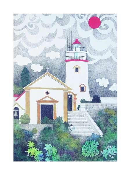 Mario Miranda Paintings | Cityscape Painting - The Light House by artist Mario Miranda | ArtZolo.com