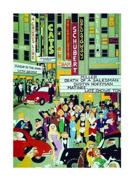 Bustling Broadway   Painting by artist Mario Miranda   other   Paper