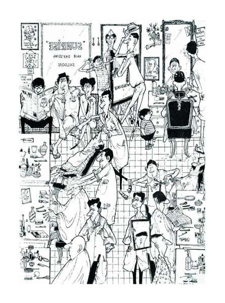 Mario Miranda | Pen-ink Painting title The Barber Shop on Paper | Artist Mario Miranda Gallery | ArtZolo.com