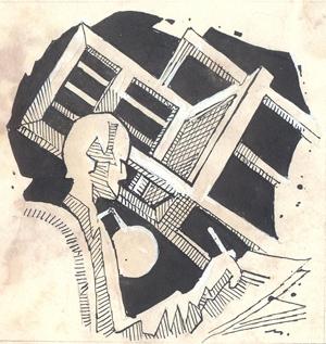Figurative Pen-ink Art Drawing title 'Untitled 256' by artist Mario Miranda