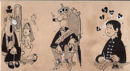 Figurative Pen-ink Art Drawing title 'Untitled 312' by artist Mario Miranda