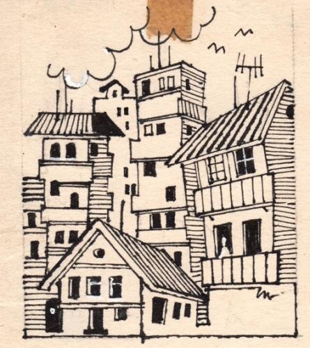 Figurative Pen-ink Art Drawing title 'Untitled 83' by artist Mario Miranda