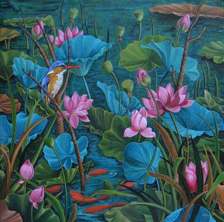 Nature Acrylic Art Painting title 'Evening Song 1' by artist Vani Chawla