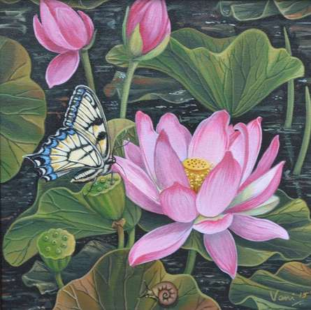 Vani Chawla | Acrylic Painting title Lotus Pond on Canvas | Artist Vani Chawla Gallery | ArtZolo.com