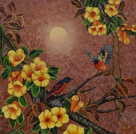 Nature Acrylic Art Painting title Duet 10 by artist Vani Chawla