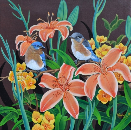 Nature Acrylic Art Painting title 'Birds Duet 2' by artist Vani Chawla