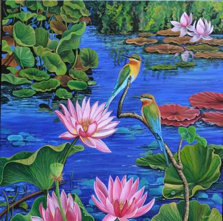 Duet In Lotus pond | Painting by artist Vani Chawla | acrylic | Canvas