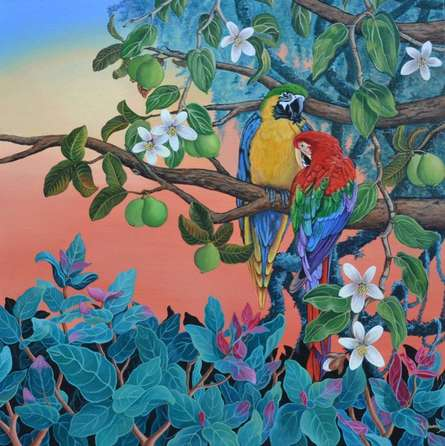 Nature Acrylic Art Painting title 'Evening Song 2' by artist Vani Chawla