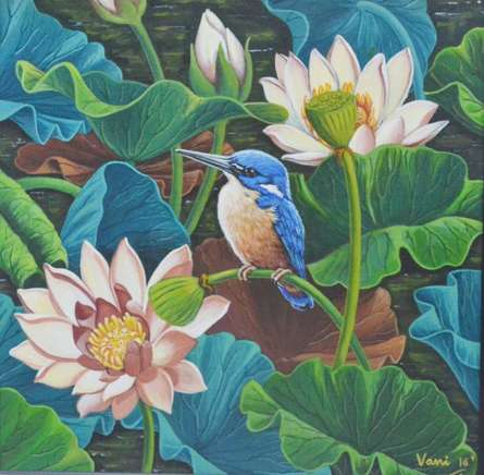 Vani Chawla | Acrylic Painting title Bird In Lotus Pond 7 on canvas | Artist Vani Chawla Gallery | ArtZolo.com