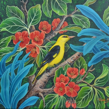 Nature Acrylic Art Painting title 'Oriole Bird 2' by artist Vani Chawla