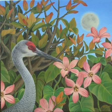 Nature Oil Art Painting title 'Sandhill Crane' by artist Vani Chawla