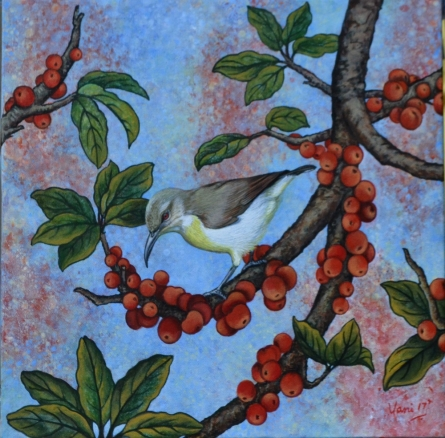 Nature Acrylic Art Painting title 'Sunbird' by artist Vani Chawla