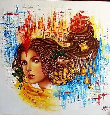 Figurative Acrylic Art Painting title Aastha by artist Sonia Kumar