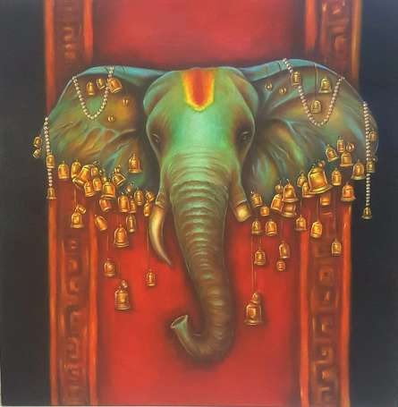 Sonia Kumar Paintings | Acrylic Painting - Lord Ganapati by artist Sonia Kumar | ArtZolo.com