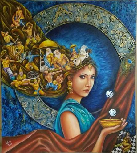 Surrealist Acrylic Art Painting title 'draupadi' by artist Sonia Kumar